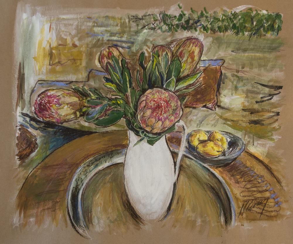 13. Protea in White Jug