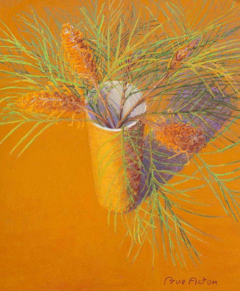 18. Orange, Vase, Banksia Spinosa