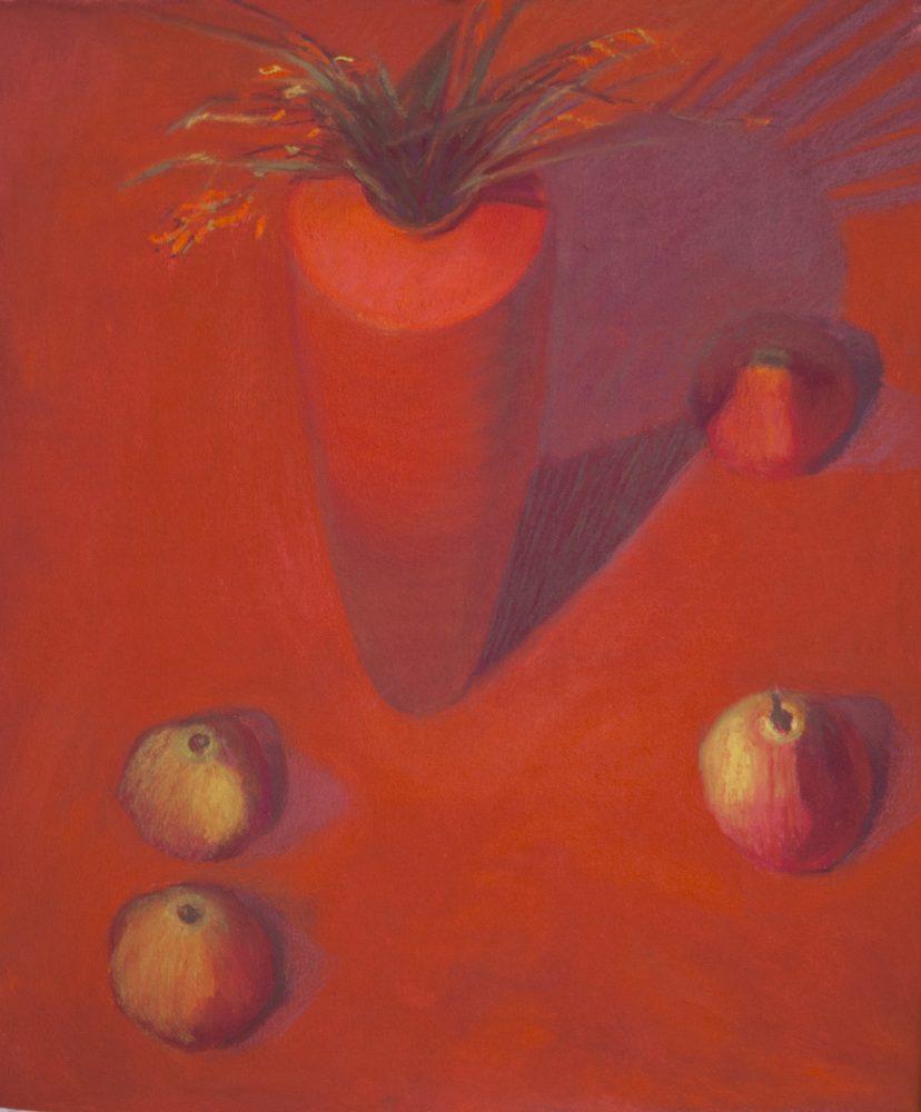 22. Weeds, Red Vase, Corolla Pears