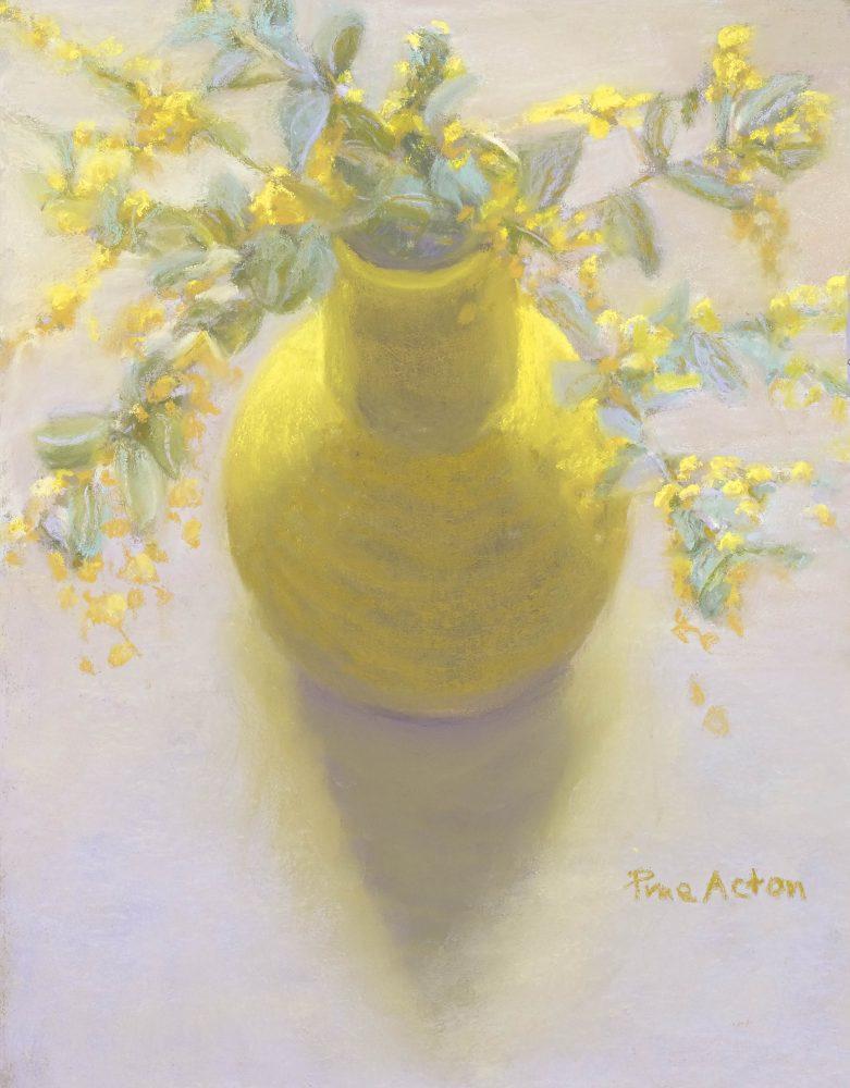 9. Wattle i, Yellow on White